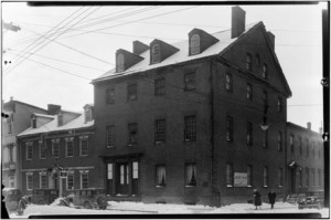 At left, the circa 1785 tavern. At right, the larger 1792 City Tavern (later called the City Hotel). The ballroom was originally located on the right half of the second-floor of the City Tavern. Photo, Library of Congress.