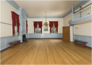 The ballroom in Gadsby's Tavern as it appears today. The room was reproduced in 1940 based on the room at the Metropolitan Museum of Art