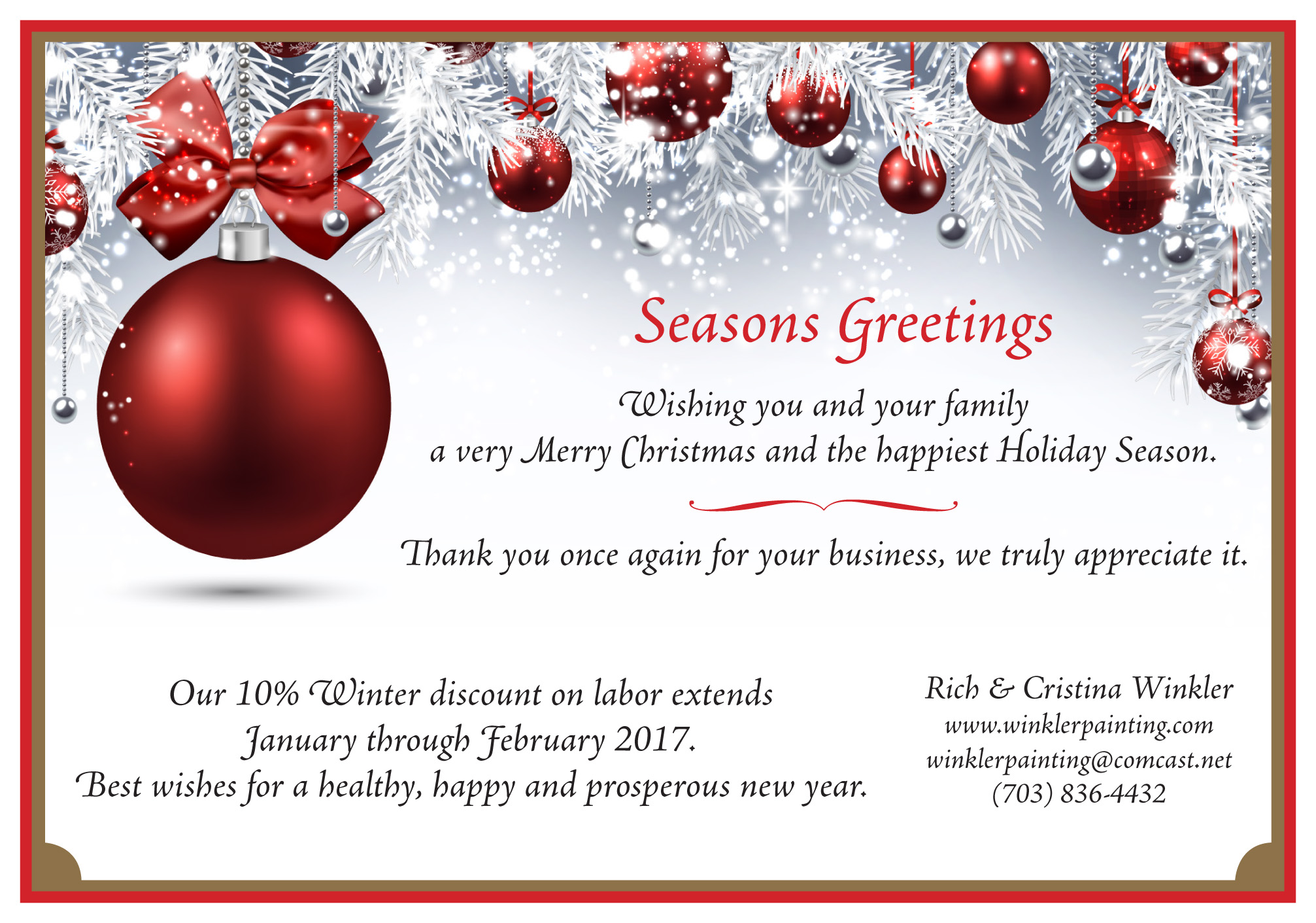 Seasons Greetings And Discounts Rich Winkler Painting